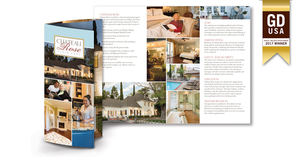 GDUSA Award Winning Color Brochure Design for Health Care Residence - Atascadero Graphic Designer - Graphic Design Team - Marketing and Design - Studio 101 West Graphic Design
